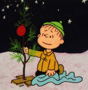 Linus with Charlie Brown Christmas Tree